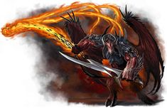 Balor Demon ~ HD: 14d10 AC:22 ~~~ Sword OR Whip = 1d10+1 OR 1d10 (and grapples near body, dealing 4d4 fire damage) ~~~ Saves = F+10, R+8, W+12, and +4 Initiative ~~~ Specials: Casts Darkness at will, Ebon Eyes at will, Flame Blade 2 x day, and Gate (call other demons) 1 x day ~~~ Locations: Live deep underground, balrog like demon, six are known to exist.