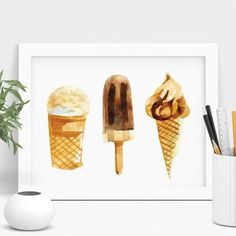 Ice Cream Print Neutral Watercolour Series