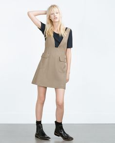 ZARA - TRF - CHECK PINAFORE DRESS