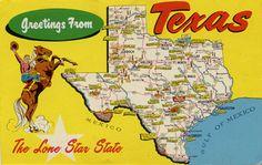 Vintage texas postcard. We LOVE Texas!