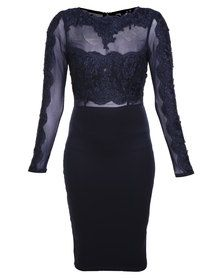 AX Paris Crochet Mesh Top Bodycon Dress Navy Formal Wear, Formal Dresses, Fashion Hub, Playsuits, South Africa, Evening Dresses, Latest Trends, Bodycon Dress, Clothes For Women
