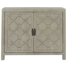 Inspired by Chinese fretwork, the elaborate trim on this transitional two-door chest highlights its classic straight lines and decorator look. With its fashion-right grey painted finish, this chest offers ample storage in a living room, bedroom or hall.