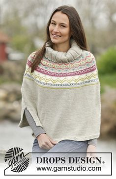 "Just awesome #poncho with Nordic pattern in ""Nepal"". Free #knitting pattern by DROPS Design"