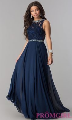 Shop lace-bodice backless chiffon prom dresses at Simply Dresses. Floor-length evening dresses with jewel-embellished high necklines and beaded waists. Navy Prom Dresses, Prom Dresses With Sleeves, Event Dresses, Ball Dresses, Long Navy Dress, Evening Dresses Plus Size, Chiffon Evening Dresses, Chiffon Gown, Evening Gowns