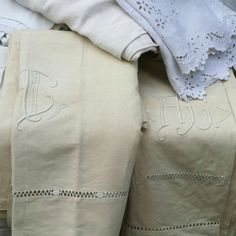 . Linens And Lace, Vintage Linen, France, Inventions, Towels, Bedding, Shabby Chic, Textiles, Glamour