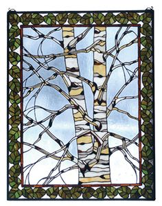 5fb8b89ff43269 Rustic Lodge Birch Tree in Winter Stained Glass Window