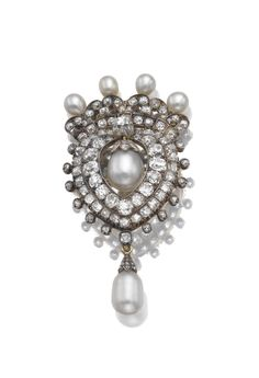 Natural pearl and diamond brooch/pendant, circa 1880 | Lot | Sotheby's