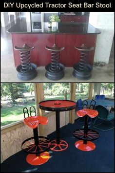 Are you a fan of the industrial home design? Then here's a furniture idea you're going to like! Tractor Seat Bar Stools, Tractor Decor, Diy Bar Stools, Industrial Bar Stools, Diy Stool, Industrial Interior Design, Diy Outdoor Bar, Outdoor Bar Stools, Outdoor Lounge