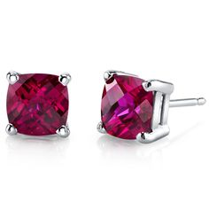 Women's 14k White Gold Cushion Cut Ruby Stud Earrings. BUY NOW AND SAVE! Use Promo Code Pin9175 AND SAVE 15% ON YOUR ENTIRE ORDER!