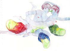 amanti e tre conchiglie, 2002, watercolor on paper, 24x17,5 cm