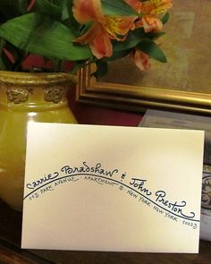 """Shoreline"" writing style.  Wedding Invitation Addressing www.calligraphybycarrie.com"