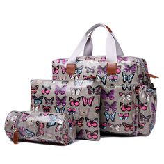 59.99$  Watch here - http://alighi.worldwells.pw/go.php?t=32684960709 - Women Butterfly Oilcloth Maternity Changing Bag Satchel Large Handbag Tote composite bag crossbady bags