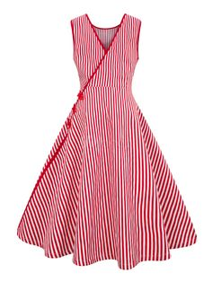 Red Vintage Dress Striped Chinese Prom Dress Sleeveless V Neck Buttons Retro Dress Source by tiatora Vintage Dresses Vintage Red Dress, Retro Dress, Vintage Dresses, Vintage Prom, 1920s Dress, Vintage Hats, Retro Vintage, Simple Dresses, Casual Dresses