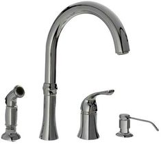 Sir Faucet Chrome Deck Mount High-Arc Handle/Lever Commercial/Residential Kitchen Faucet at Lowe's. The Four-Hole Kitchen Faucet is available in a chrome, brushed nickel or antique bronze finish. It contains a 360 degree spout and includes a soap Faucet Handles, Kitchen Handles, Sink Faucets, Kitchen Faucets, Sink Design, Küchen Design, Interior Design, Deck, Kitchen Styling