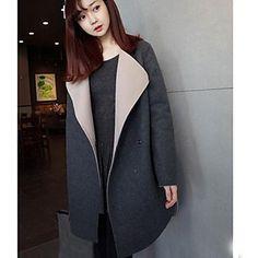 Stylish Turn-Down Collar Long Sleeve Loose-Fitting Coat For Women Maternity Winter Coat, Maternity Coats, Tweed, Maternity Shops, Long Trench Coat, Outerwear Women, Normcore, Stylish, Streetwear