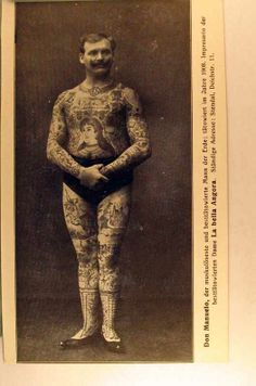 The tattooed man circus performer.
