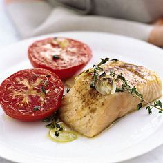 Garlicky Broiled Salmon and Tomatoes, Real Simple