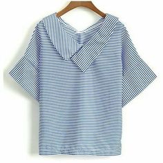 Casual Striped V-Neck Short Sleeve Blouse For Women - Top Fashion Pics Western Tops, Moda Chic, Short Tops, White Long Sleeve, Short Sleeve Blouse, Sleeveless Blouse, Ruffle Blouse, Latest Fashion For Women, Ladies Fashion