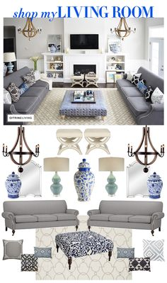 40 Extraordinary Glamour Living Room design - To give your living room a sumptuous image, indulge in a spot of glamour styling. The results are as relaxing as they are impressive and luxurious but. Blue Living Room Decor, Living Room Decor Traditional, Coastal Living Rooms, Living Room Sofa, Cottage Living, Coastal Cottage, Dining Room, Rustic Bedroom Design, Interior Design Living Room
