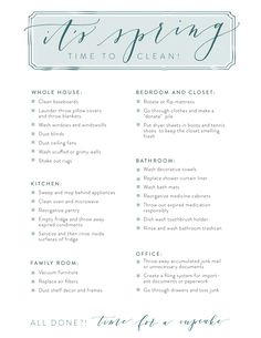 Spring Cleaning Checklist Printable | Joanna Gaines Blog | Whole house deep cleaning tips