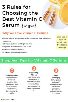 Get the 3 vital things to look for when shopping for vitamin c serum; plus learn the benefits of using vitamin C; how to apply it to your face for acne, dark spots and wrinkles; and the best products to use in your skincare routine. Skin Care Regimen, Skin Care Tips, Skin Tips, Anti Aging Skin Care, Natural Skin Care, Skin Care Routine For 20s, Skincare Routine, Best Vitamin C, Vitamin C For Face