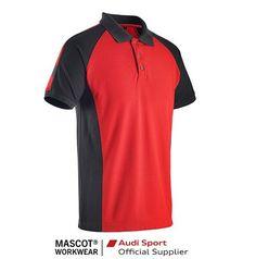 Tricou polo cu guler Rosu/negru Mascot Audi Mascot Workwear, Textiles, Romania, Work Wear, Audi, Polo Shirt, Mens Tops, Shirts, Fashion
