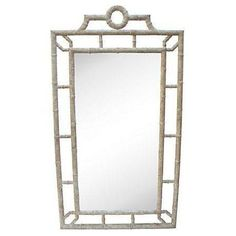 Giant Bamboo Wood Mirror Made in Spain on Chairish.com