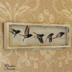 Decoupage Flying Bird Picture   A white distressed wood framed picture   Captures a bird in different stages of taking flight   This unusual picture would make a unique feature as the birds' wings are of a decoupage style giving them a 3D effect   Wall mountable comes with hooks on the back for hanging