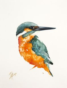 ARTFINDER: Common kingfisher by Andrzej Rabiega - Kingfisher - watercolor