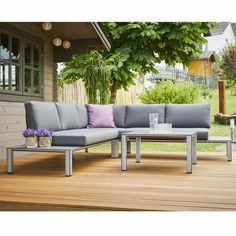 Sol 72 Outdoor The Cobos 4 Seater Corner Sofa Set is the ultimate in comfort, made with easy to clean PVC coated fabric. This aluminium set is perfect for inviting friends and family to dinner in the garden. Now you can sit back, relax and enjoy. Corner Sofa With Cushions, 5 Seater Corner Sofa, Rattan Corner Sofa Set, 5 Seater Sofa, Rattan Sofa, Pallet Furniture, Garden Furniture, Outdoor Furniture Sets, Sofa Set Online