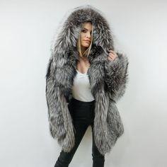 Luxury Silver Fox Fur Jacket With Hood   Etsy Fox Fur Jacket, Fox Fur Coat, Hooded Jacket, White Fur, Fur Fashion, Fur Collars, I Dress, Furs, Fur Hats