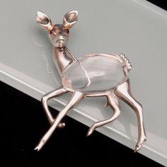 Jelly Belly Deer Brooch Pin Vintage Sterling Silver..
