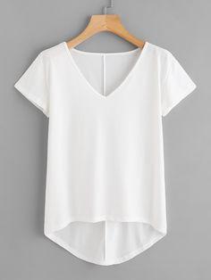 863e8c248b643 Casual Plain Regular Fit V Neck Short Sleeve White Solid Dip Hem T-shirt