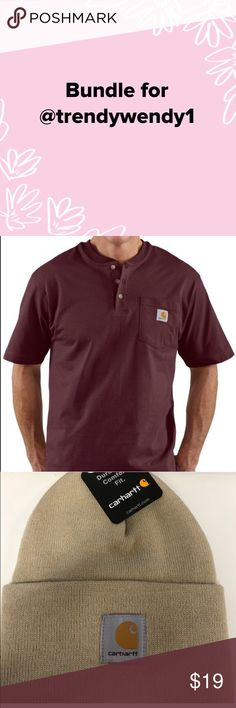 04ebf769be4e Bundle for Bundle for - Carhartt men s short sleeve Henley   Carthartt  Men s Tan Knit Watch Cap - see original listings for description Carhartt  Shirts Tees ...