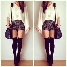 shoes underwear shorts shirt bag black white fashion hotpants thigh highs outfit blouse cute floral weheartit girly style hair high waisted shorts hipster cardigan jumper pattern shorts floral top white top black and gold knee high socks