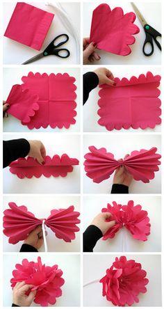 Blog My Little Party - Ideas e Inspiración para Fiestas: DIY: Flores con servilletas de papel                                                                                                                                                                                 Mais
