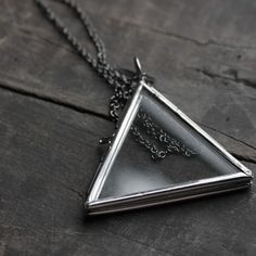Large Glass Triangle Locket now featured on Fab.