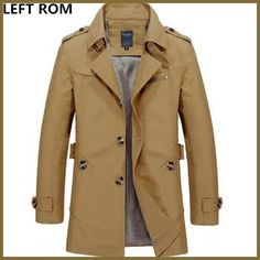 Buy LEFT ROM Fashion men are upscale in winter slim Fit Casual trench coat/male pure color Pure cotton long jackets Winter Trench Coat, Trench Coat Men, Mens Winter Coat, Men Coat, Autumn Coat, Parka Men, Winter Hats, Long Jackets, Outerwear Jackets