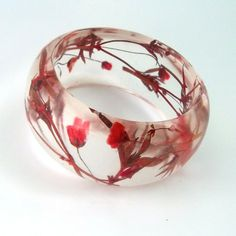 Red Resin Bracelet. Chunky Bangle Bracelet with Pressed Flowers. Real ...