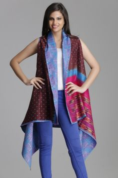 Reversible pink, brown & blue up-cycled silk saree shrug with bandhani, ikat and all-over kantha detailing