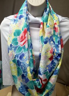 Infinity Scarf silky floral handmade unique by NanasSweeties51