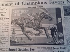 APR 27, 1965 NEWSPAPER #4517- NO CLEAR PICTURE IN KENTUCKY DERBY- ILLUSTRATION