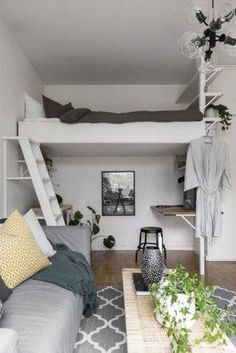 Stylish bedroom design - 34 Delicate Tiny Apartment Design Ideas That Are So Inspiring – Stylish bedroom design Mezzanine Bedroom, Loft Room, Bedroom Loft, Attic Bedrooms, Teenage Bedrooms, Small Bedrooms, Teen Bedroom, Master Bedroom, Room Design Bedroom