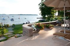 Concrete and Stone Wall - Contemporary Patio by Mary Prince Photography
