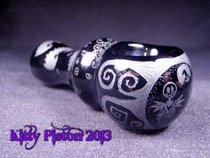 Jack Skellington and Bats Hand Blown and Etched Glass Pipe By Kitty Piston OOAK on Etsy, $65.00
