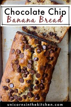 This chocolate chip banana bread is easy, moist and so delicious! Got ripe bananas sitting on the counter? Make this simple banana bread loaded with chocolate chips. You can add walnuts and even make them into muffins! It keeps well and is perfect as a midday snack or even breakfast! Bhg Recipes, Pastry Recipes, Baking Recipes, Moist Banana Bread, Chocolate Chip Banana Bread, Chocolate Chips, Hot Chocolate Cookies, Chocolate Recipes, Delicious Chocolate