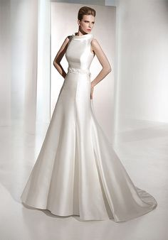 wedding gowns with high collar | Discount 2012 High Collar Satin Court Train Wedding Dresses with Beads ...