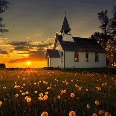 happy sabbath http://www.singleseventhdayadventists.com/ [ Country church at sunset... ]