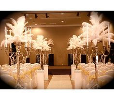 feathers on candelabra