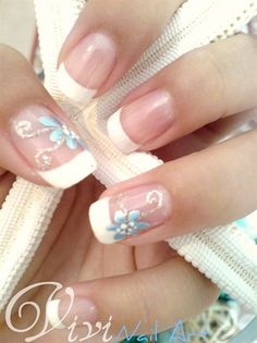French manicure in white with silver & blue flower nail art ♡ (for spring or summer)